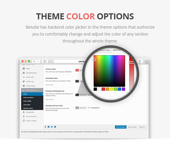 betube video theme colors