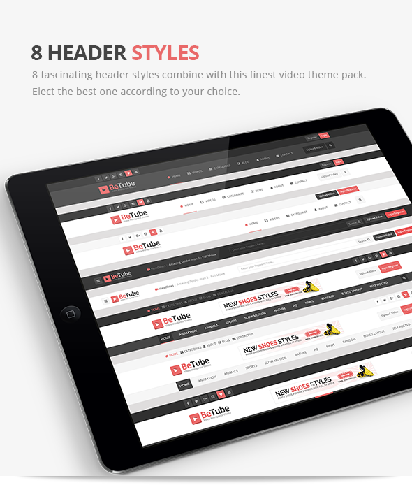 betube video WordPress Theme header styles