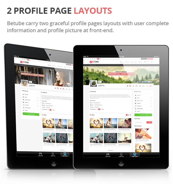 betube video theme Profile design